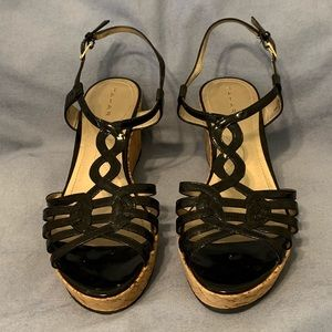 Tahari Black Patent Leather Strappy Wedge Size 8.5